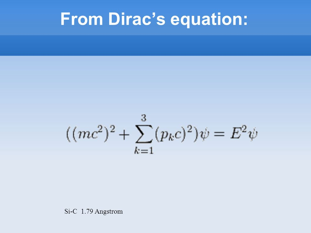 From Dirac's equation: Si-C 1.79 Angstrom