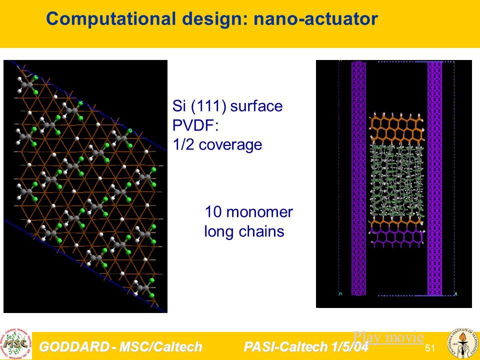 GODDARD - MSC/Caltech PASI-Caltech 1/5/04 51 Computational design: nano-actuator Si (111) surface PVDF: 1/2 coverage 10 monomer long chains Play movie