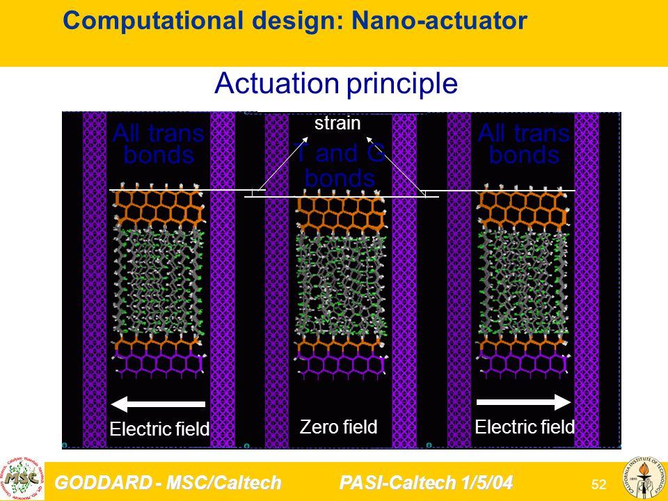 GODDARD - MSC/Caltech PASI-Caltech 1/5/04 52 Computational design: Nano-actuator strain Zero field Electric field Actuation principle T and G bonds All trans bonds Electric field All trans bonds