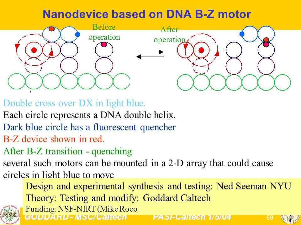 GODDARD - MSC/Caltech PASI-Caltech 1/5/04 59 Nanodevice based on DNA B-Z motor Double cross over DX in light blue.