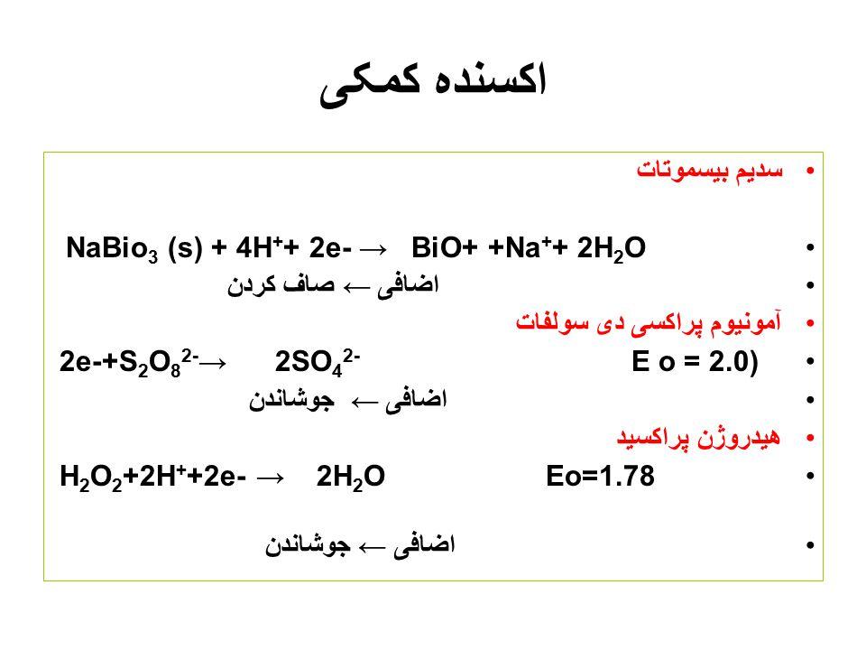 کاهنده کمکی آنالیت باید در یک حالت اکسایش باشد ( Fe 3+ یا (Fe 2+ Zn-Al-Cd-Pb-Ni - ملغمه روی 2Zn(s)+Hg 2+ → Zn 2+ + Zn(Hg) (s) ملغمه روی باعث کاهش +Hنم