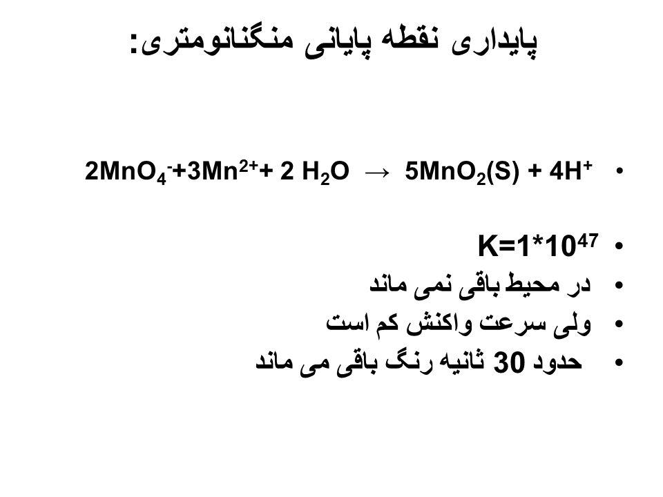 تهيه محلول پرمنگنات با محاسبه پرمنگنات توزين و... ← گرم ← صاف ← استاندارد 2MnO 4 - +5H 2 C 2 O 4 +6H + → 2Mn 2+ +10 CO2(g) +8H2O واکنش کند است Mn 2+ ک