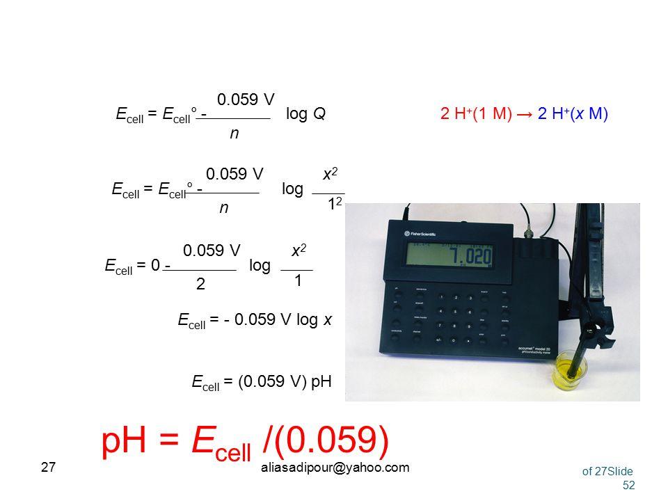 26 The pH Meter Prentice-Hall © 2002General Chemistry: Chapter 21 Slide 26 of 52 2 H + (1 M) → 2 H + (x M) Pt | H 2 (1 atm)|H + (x M) ||H + (1.0 M) |H
