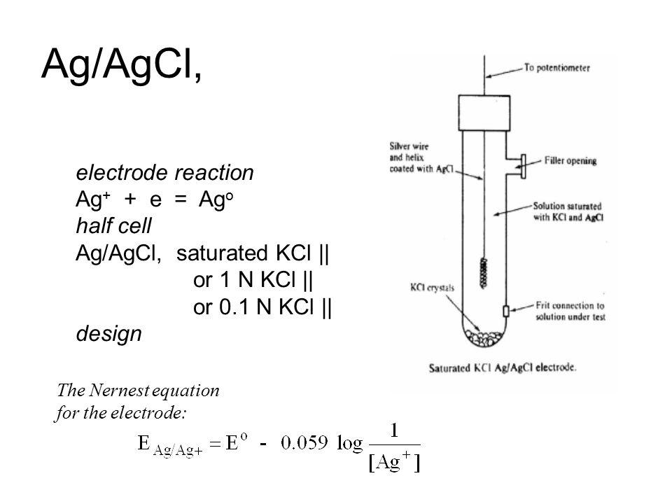 Calomel electrode E voltKCl 0.241Saturated 0.2801M 0.3340.1 M