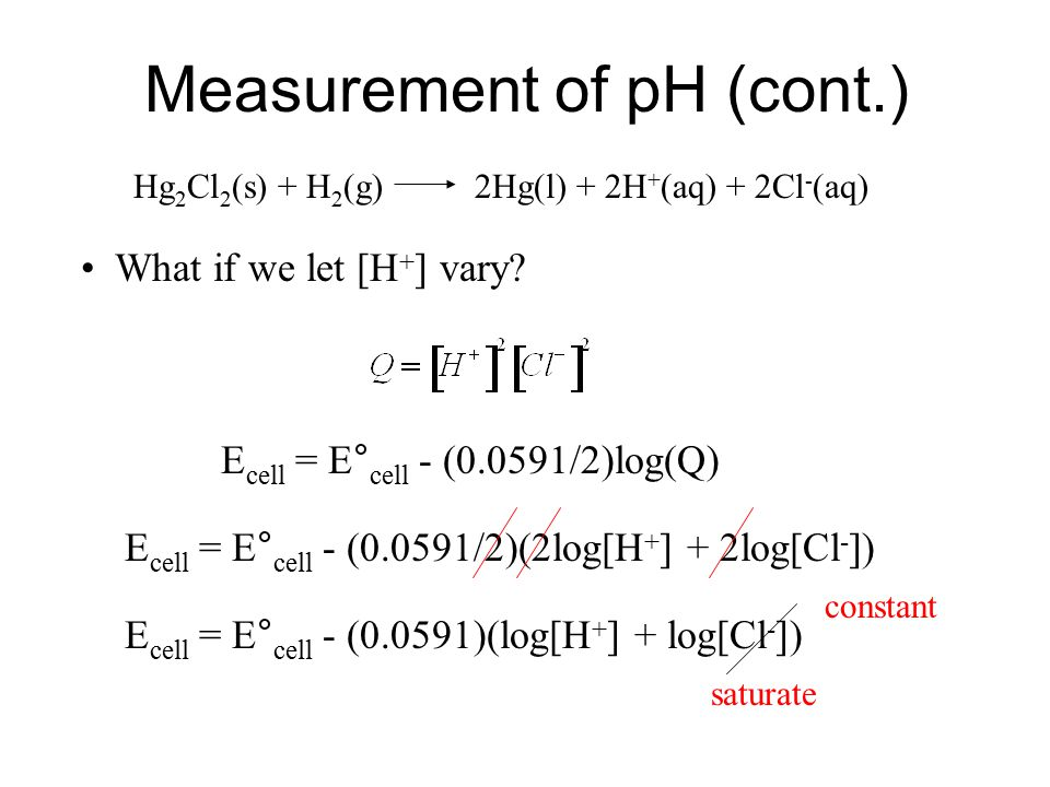 Measurement of pH pH meters use electrochemical reactions. Ion selective probes: respond to the presence of a specific ion. pH probes are sensitive to
