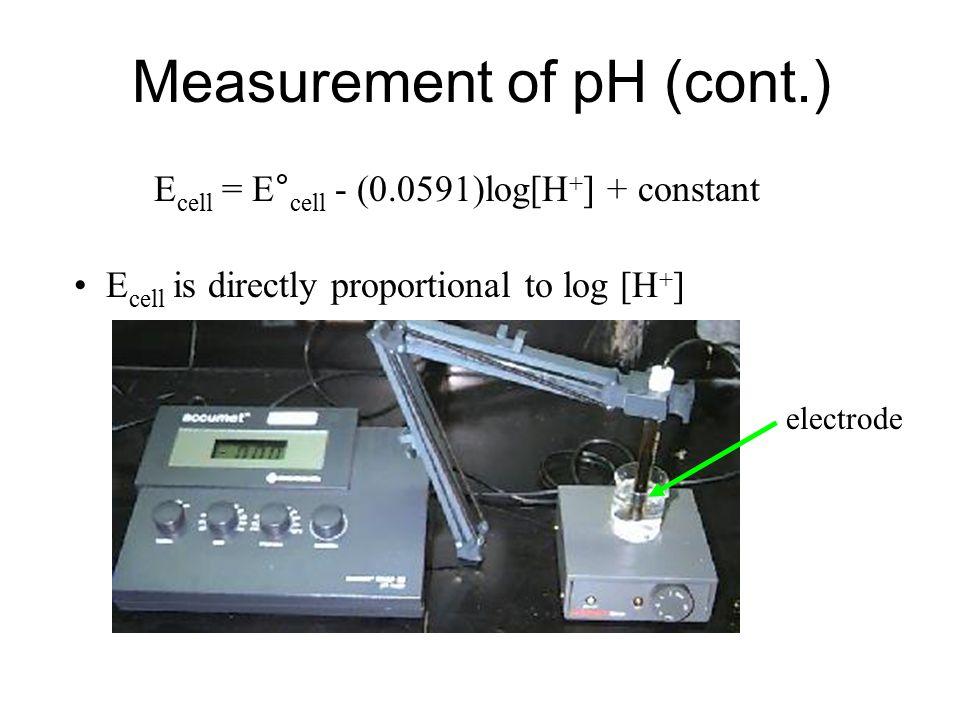 Measurement of pH (cont.) Hg 2 Cl 2 (s) + H 2 (g) 2Hg(l) + 2H + (aq) + 2Cl - (aq) What if we let [H + ] vary? E cell = E° cell - (0.0591/2)log(Q) E ce