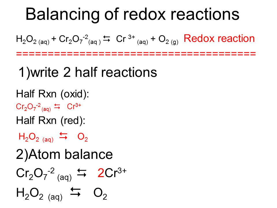 Balancing of redox reactions. Under Basic conditions 1. Identify oxidized and reduced species Write the half reaction for each. 2. Balance the half rx