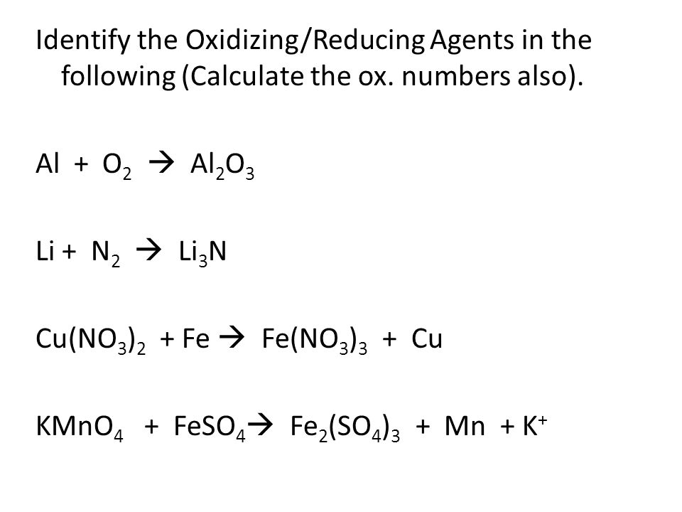 Identify the Oxidizing/Reducing Agents in the following (Calculate the ox.