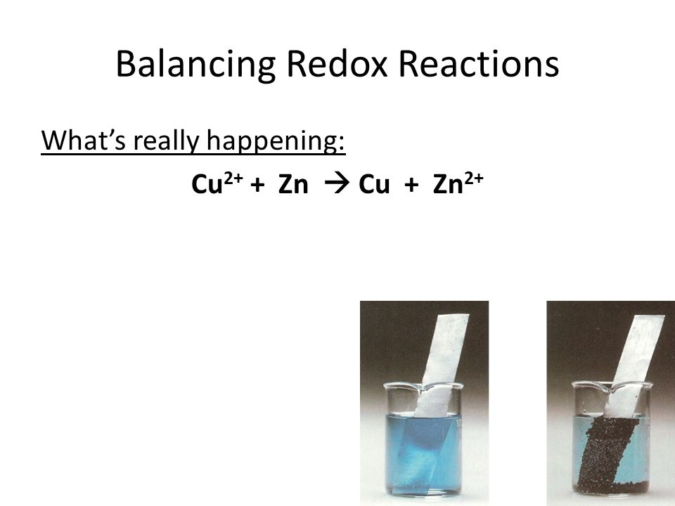 Balancing Redox Reactions What's really happening: Cu 2+ + Zn  Cu + Zn 2+