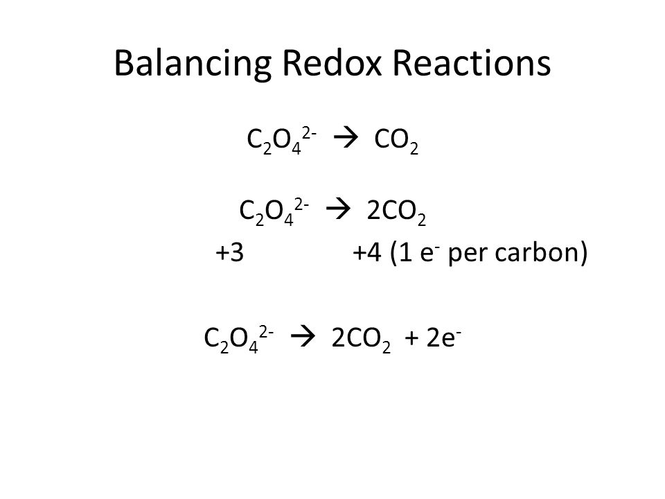 Balancing Redox Reactions C 2 O 4 2-  CO 2 C 2 O 4 2-  2CO 2 +3 +4 (1 e - per carbon) C 2 O 4 2-  2CO 2 + 2e -