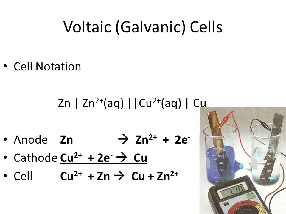 Voltaic (Galvanic) Cells Cell Notation Zn | Zn 2+ (aq) ||Cu 2+ (aq) | Cu AnodeZn  Zn 2+ + 2e - CathodeCu 2+ + 2e -  Cu CellCu 2+ + Zn  Cu + Zn 2+