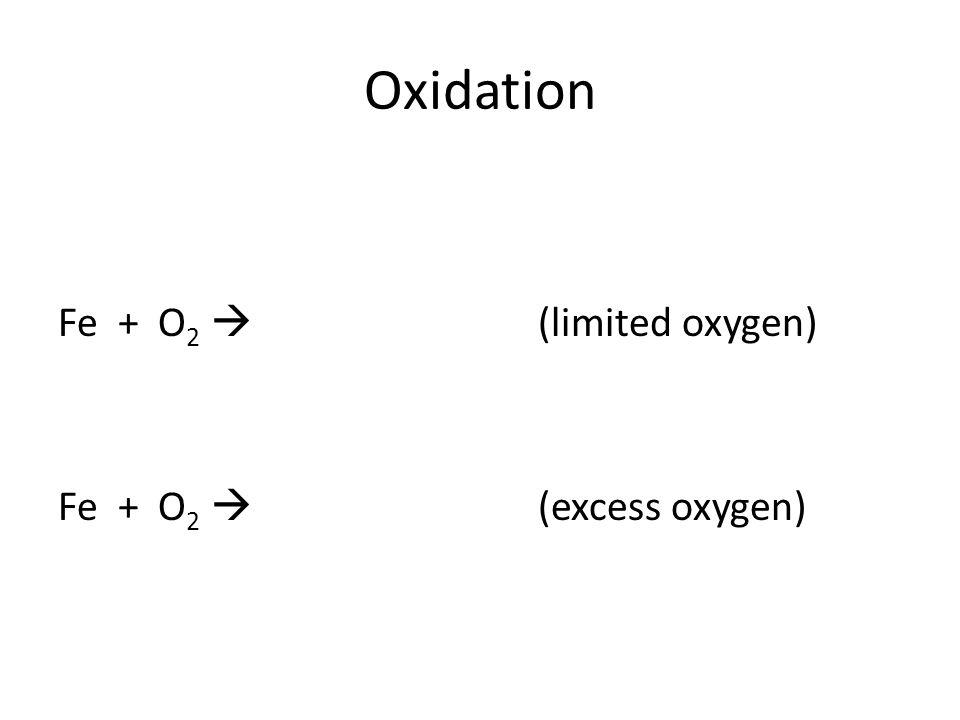 Oxidation Fe + O 2  (limited oxygen) Fe + O 2  (excess oxygen)