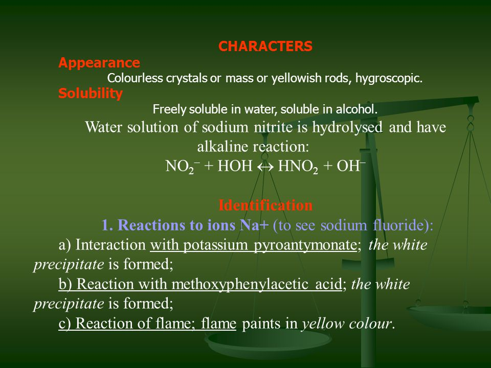 CHARACTERS Appearance Colourless crystals or mass or yellowish rods, hygroscopic. Solubility Freely soluble in water, soluble in alcohol. Water soluti