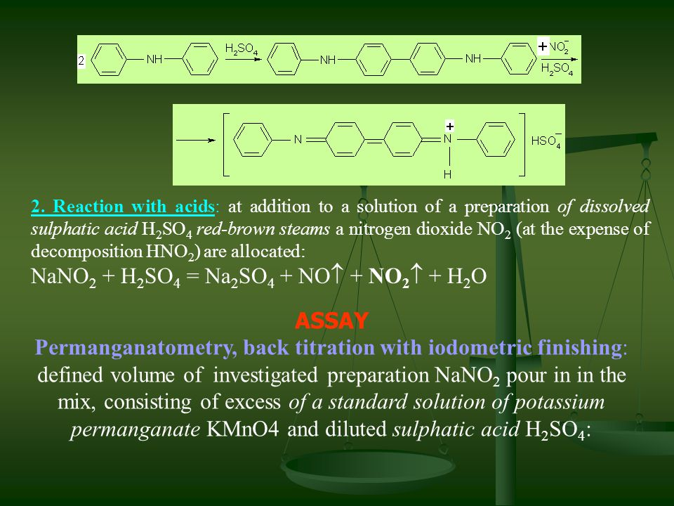 2. Reaction with acids: at addition to a solution of a preparation of dissolved sulphatic acid H 2 SO 4 red-brown steams a nitrogen dioxide NO 2 (at t