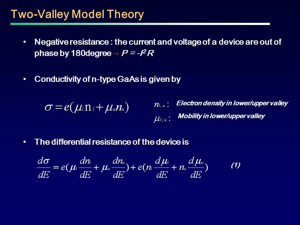 Negative resistance : the current and voltage of a device are out of phase by 180degree → P = -I 2 R Conductivity of n-type GaAs is given by The diffe