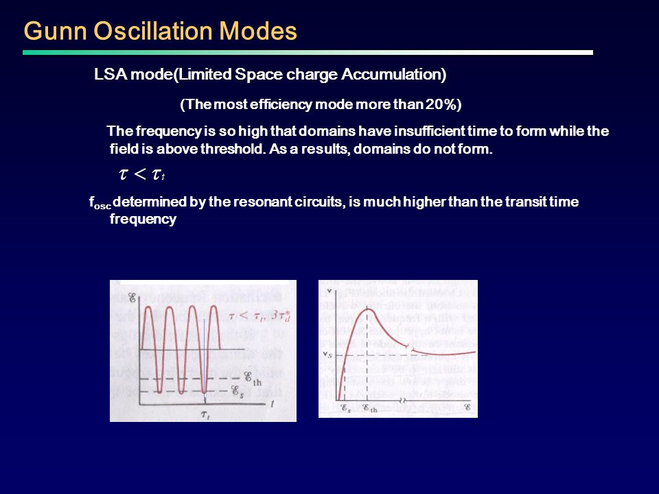 Gunn Oscillation Modes LSA mode(Limited Space charge Accumulation) (The most efficiency mode more than 20%) The frequency is so high that domains have