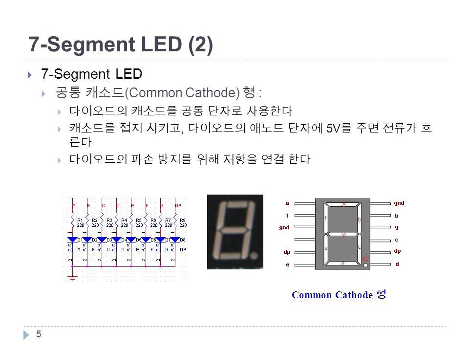 5 Common Cathode 형 7-Segment LED (2)  7-Segment LED  공통 캐소드 (Common Cathode) 형 :  다이오드의 캐소드를 공통 단자로 사용한다  캐소드를 접지 시키고, 다이오드의 애노드 단자에 5V 를 주면 전류가 흐 른다  다이오드의 파손 방지를 위해 저항을 연결 한다