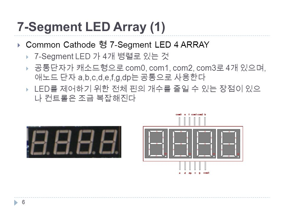 7-Segment LED Array (1)  Common Cathode 형 7-Segment LED 4 ARRAY  7-Segment LED 가 4 개 병렬로 있는 것  공통단자가 캐소드형으로 com0, com1, com2, com3 로 4 개 있으며, 애노드 단자 a,b,c,d,e,f,g,dp 는 공통으로 사용한다  LED 를 제어하기 위한 전체 핀의 개수를 줄일 수 있는 장점이 있으 나 컨트롤은 조금 복잡해진다 6