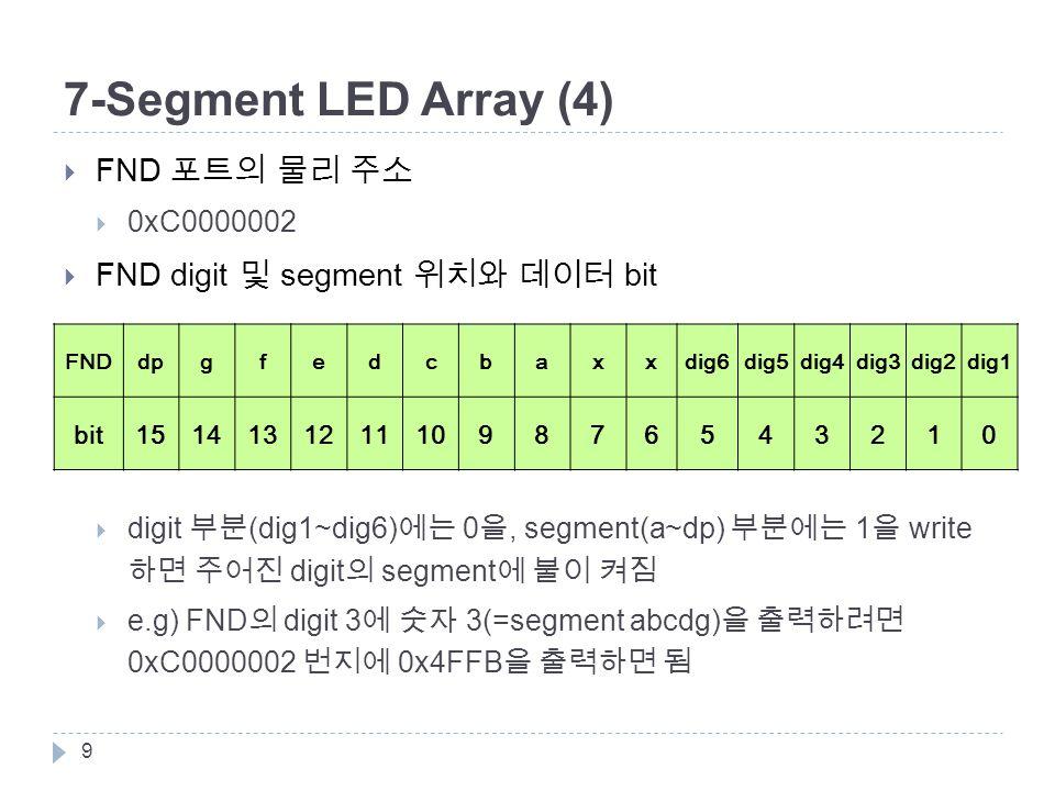 7-Segment LED Array (4)  FND 포트의 물리 주소  0xC0000002  FND digit 및 segment 위치와 데이터 bit  digit 부분 (dig1~dig6) 에는 0 을, segment(a~dp) 부분에는 1 을 write 하면 주어진 digit 의 segment 에 불이 켜짐  e.g) FND 의 digit 3 에 숫자 3(=segment abcdg) 을 출력하려면 0xC0000002 번지에 0x4FFB 을 출력하면 됨 9 FNDdpgfedcbaxxdig6dig5dig4dig3dig2dig1 bit1514131211109876543210