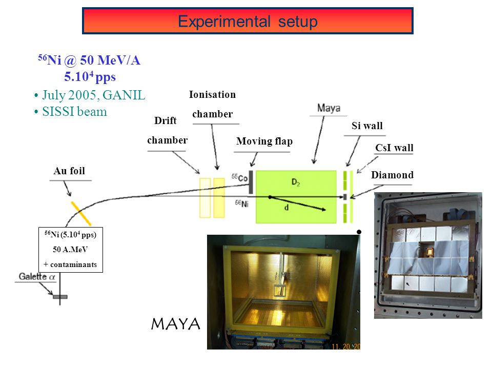 MAYA 56 Ni @ 50 MeV/A 5.10 4 pps July 2005, GANIL SISSI beam Experimental setup Au foil Drift chamber Ionisation chamber Moving flap Si wall CsI wall Diamond 56 Ni (5.10 4 pps) 50 A.MeV + contaminants
