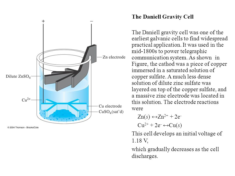 The Daniell Gravity Cell The Daniell gravity cell was one of the earliest galvanic cells to find widespread practical application.