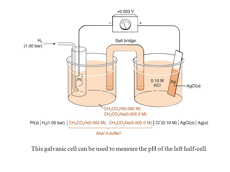 This galvanic cell can be used to measure the pH of the left half-cell.