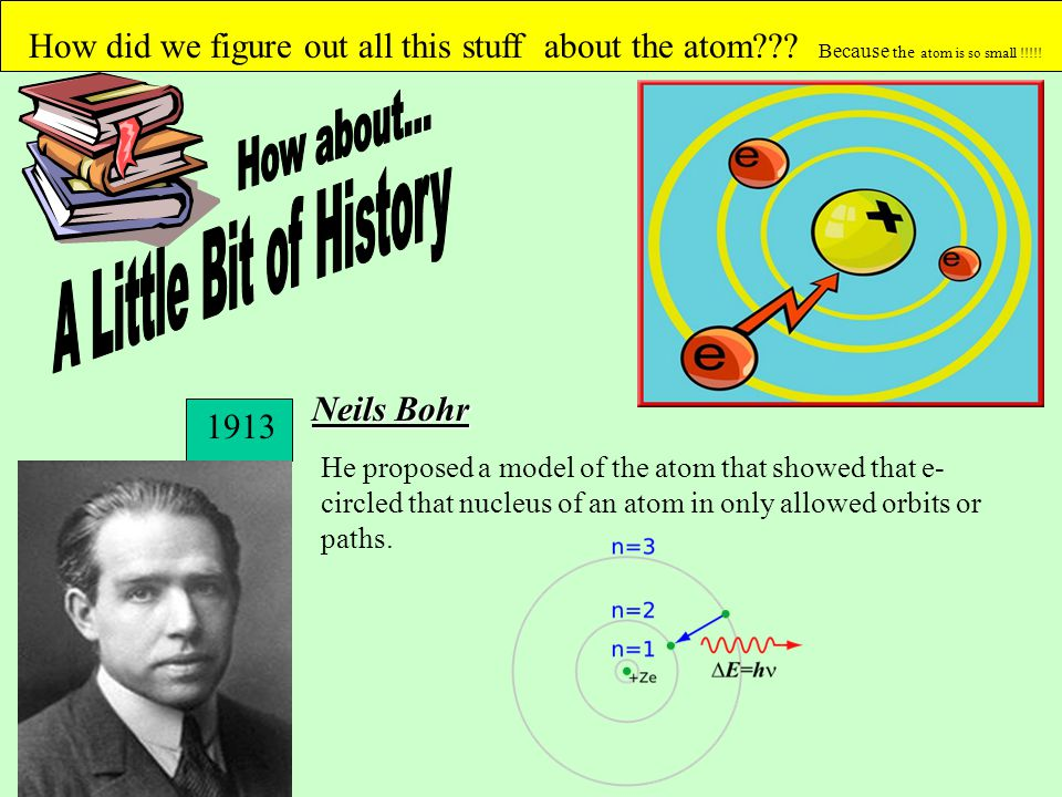 How did we figure out all this stuff about the atom??? Because the atom is so small !!!!! Neils Bohr He proposed a model of the atom that showed that