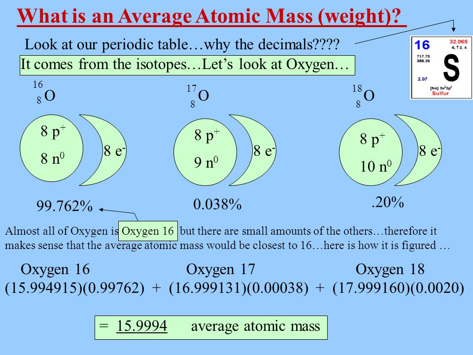 What is an Average Atomic Mass (weight)? 8 p + 9 n 0 8 p + 10 n 0 8 e - 1 e - 8 e - OOO 8 88 1718 16 It comes from the isotopes…Let's look at Oxygen…