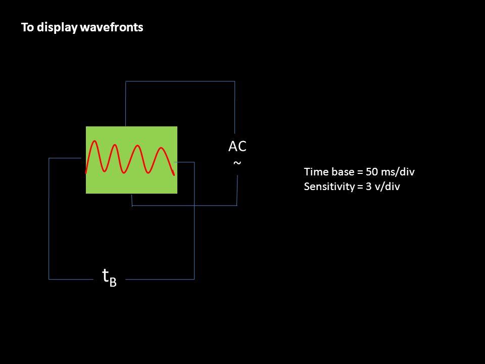 To display wavefronts Time base = 50 ms/div Sensitivity = 3 v/div tBtB AC ~