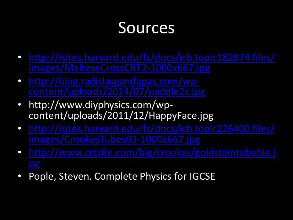 Sources http://isites.harvard.edu/fs/docs/icb.topic182874.files/ images/MalteseCrossCRT2-1000x667.jpg http://isites.harvard.edu/fs/docs/icb.topic182874.files/ images/MalteseCrossCRT2-1000x667.jpg http://blog.radislavgandapas.com/wp- content/uploads/2014/07/paddle2z.jpg http://blog.radislavgandapas.com/wp- content/uploads/2014/07/paddle2z.jpg http://www.diyphysics.com/wp- content/uploads/2011/12/HappyFace.jpg http://isites.harvard.edu/fs/docs/icb.topic226400.files/ images/CrookesTubes03-1000x667.jpg http://isites.harvard.edu/fs/docs/icb.topic226400.files/ images/CrookesTubes03-1000x667.jpg http://www.crtsite.com/big/crookes/goldsteintubebig.j pg http://www.crtsite.com/big/crookes/goldsteintubebig.j pg Pople, Steven.