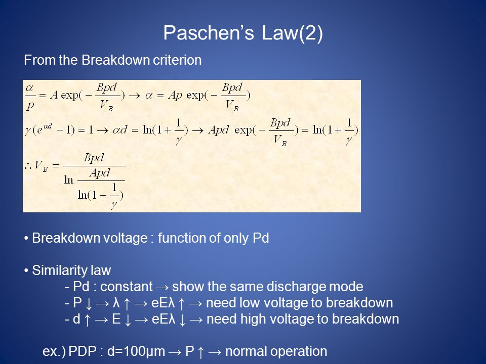 Paschen's Law(2) From the Breakdown criterion Breakdown voltage : function of only Pd Similarity law - Pd : constant → show the same discharge mode -