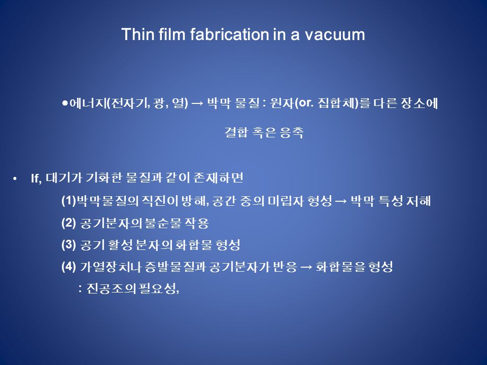 Thin film fabrication in a vacuum ● 에너지 ( 전자기, 광, 열 ) → 박막 물질 : 원자 (or.