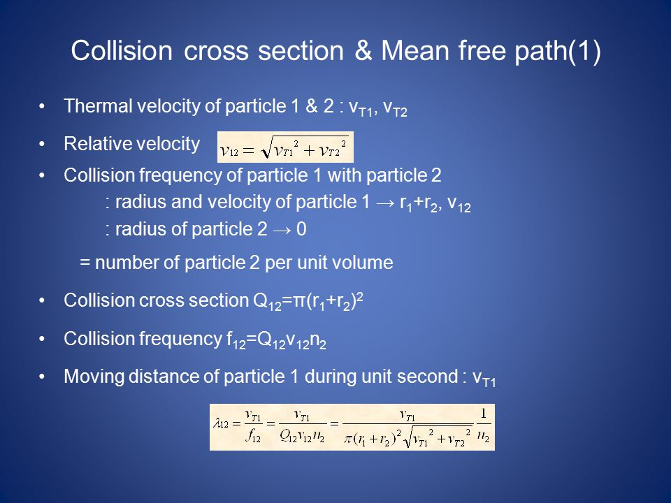 Collision cross section & Mean free path(1) Thermal velocity of particle 1 & 2 : v T1, v T2 Relative velocity Collision frequency of particle 1 with p