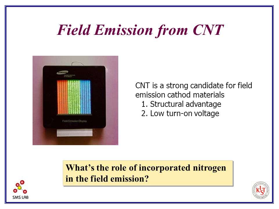 CNT is a strong candidate for field emission cathod materials 1.