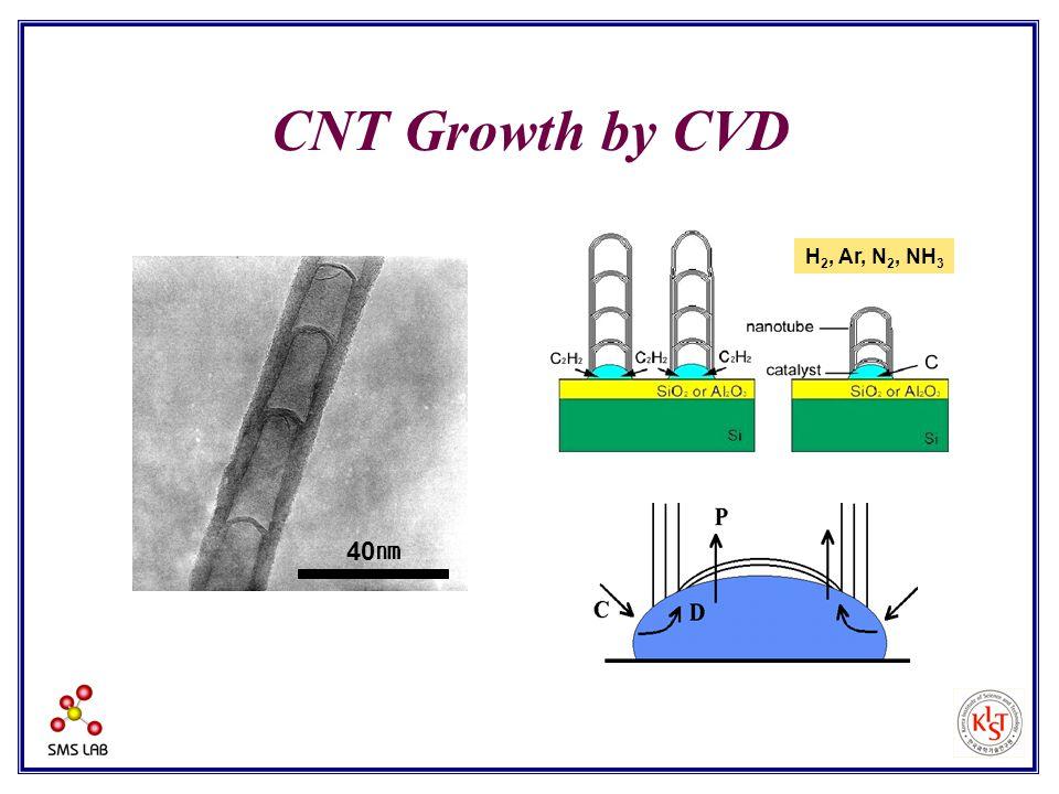 40 ㎚ CNT Growth by CVD H 2, Ar, N 2, NH 3