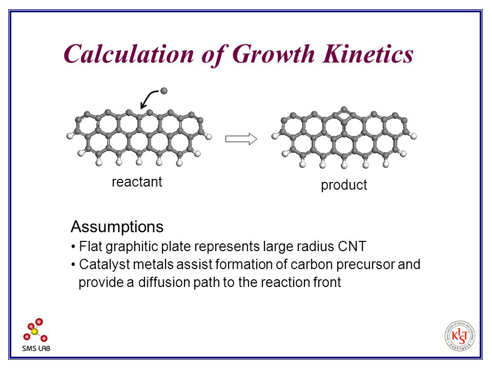 Calculation of Growth Kinetics Assumptions Flat graphitic plate represents large radius CNT Catalyst metals assist formation of carbon precursor and provide a diffusion path to the reaction front reactant product