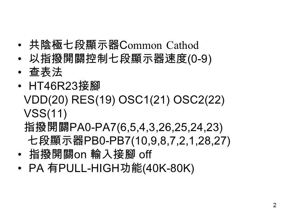 2 共陰極七段顯示器 C ommon Cathod 以指撥開關控制七段顯示器速度 (0-9) 查表法 HT46R23 接腳 VDD(20) RES(19) OSC1(21) OSC2(22) VSS(11) 指撥開關 PA0-PA7(6,5,4,3,26,25,24,23) 七段顯示器 PB0-PB7(10,9,8,7,2,1,28,27) 指撥開關 on 輸入接腳 off PA 有 PULL-HIGH 功能 (40K-80K)