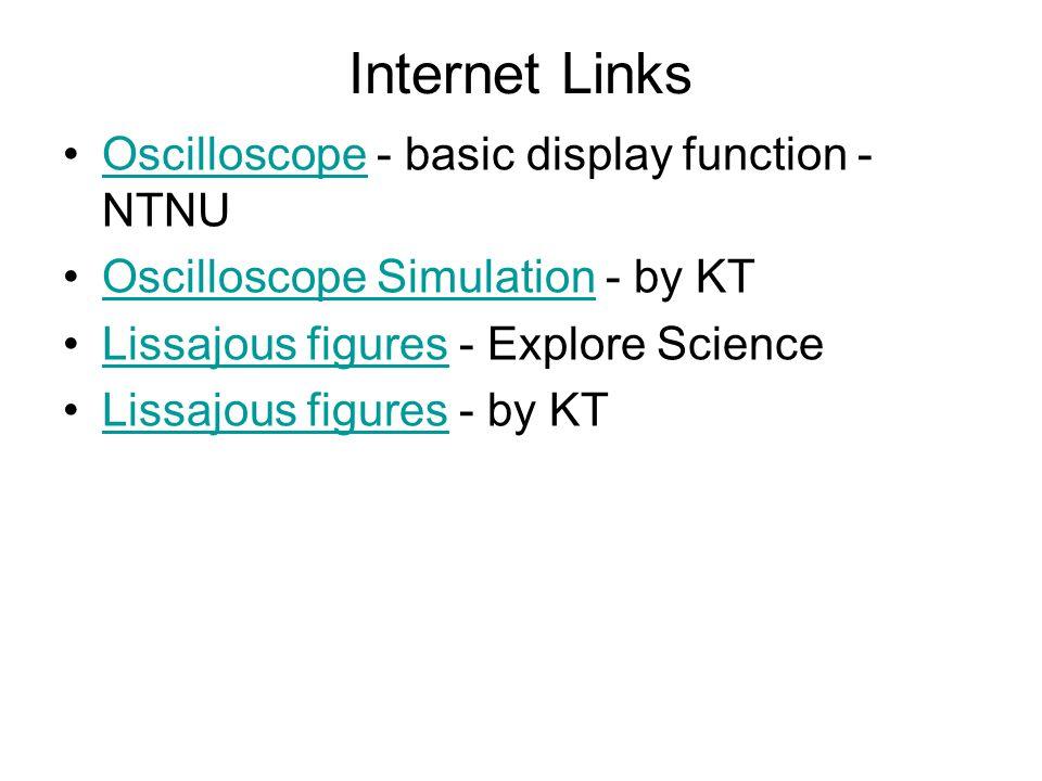 Internet Links Oscilloscope - basic display function - NTNUOscilloscope Oscilloscope Simulation - by KTOscilloscope Simulation Lissajous figures - Explore ScienceLissajous figures Lissajous figures - by KTLissajous figures