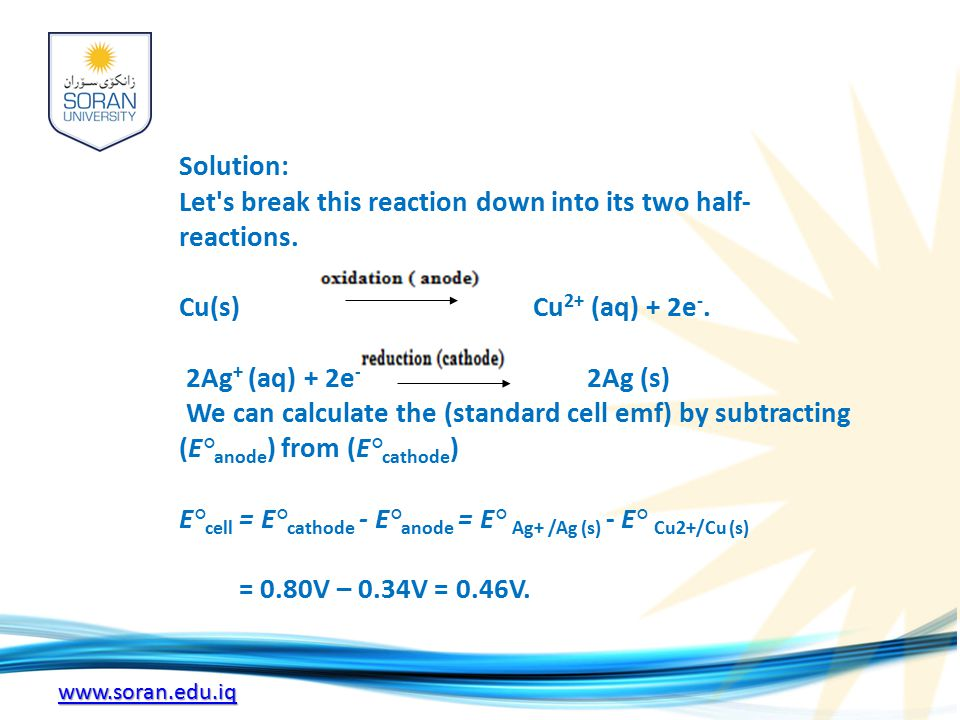 www.soran.edu.iq Solution: Let s break this reaction down into its two half- reactions.