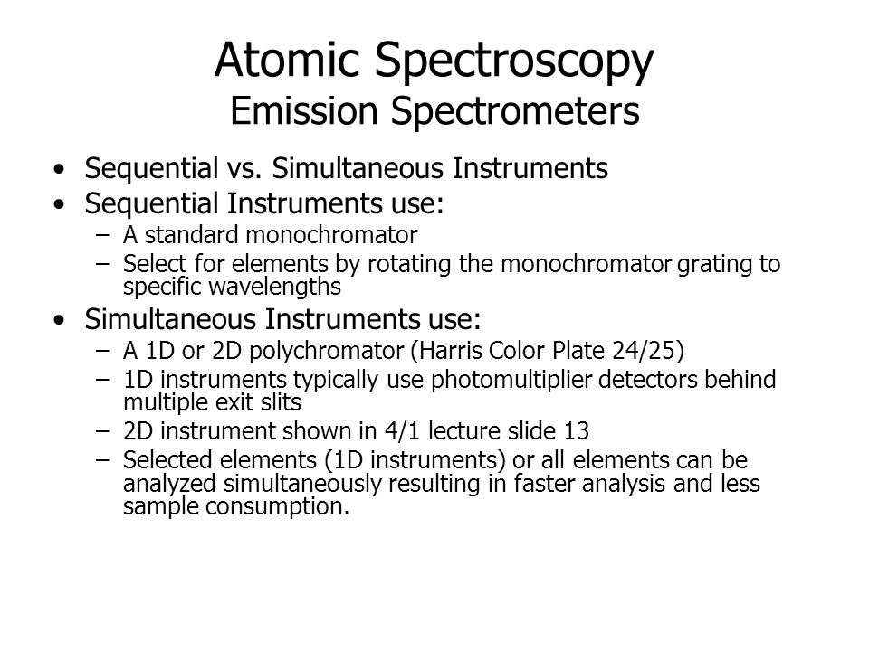 Atomic Spectroscopy Emission Spectrometers Sequential vs.