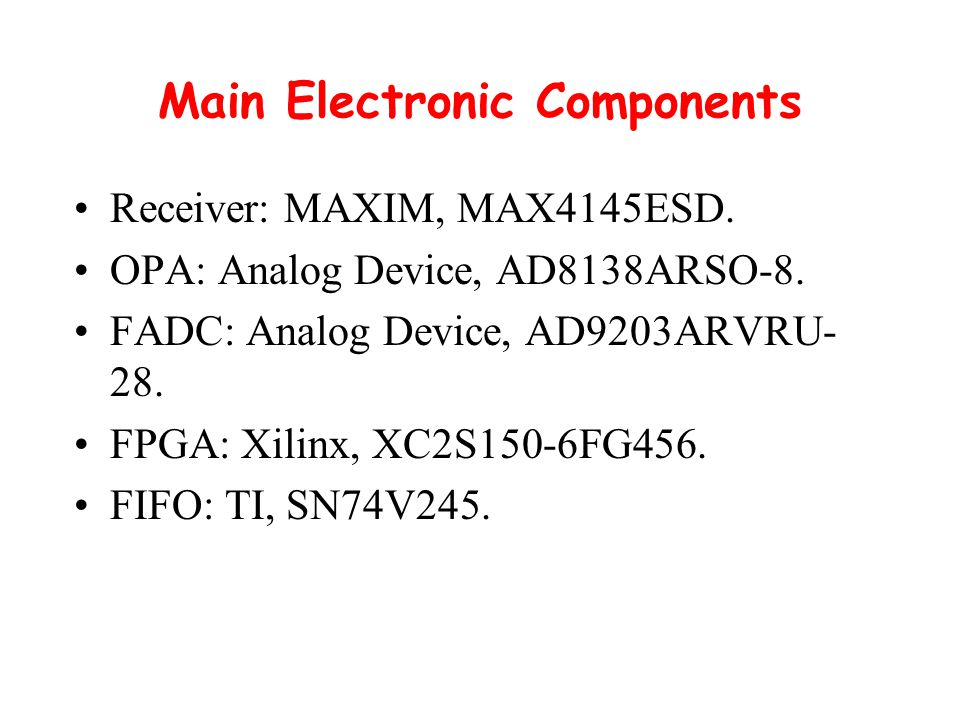 Main Electronic Components Receiver: MAXIM, MAX4145ESD.
