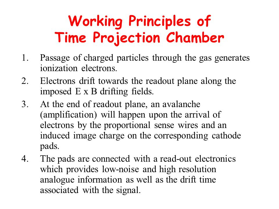 Working Principles of Time Projection Chamber 1.Passage of charged particles through the gas generates ionization electrons.