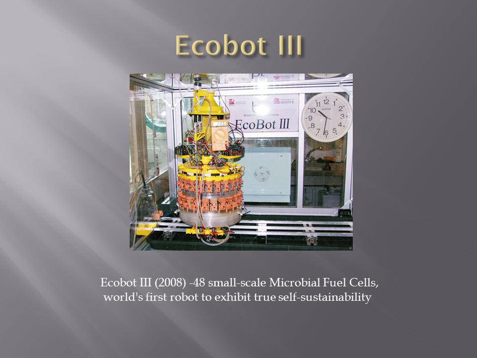 Ecobot III (2008) -48 small-scale Microbial Fuel Cells, world s first robot to exhibit true self-sustainability