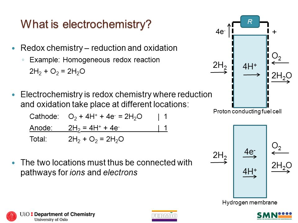 Electrochemical energy conversion Reaction: Cathode: O 2 + 4H + + 4e - = 2H 2 O| 1 Anode: 2H 2 = 4H + + 4e - | 1 Total: 2H 2 + O 2 = 2H 2 O If we have different pathways for ions and electrons, ◦ electrolyte for ions, ◦ electrodes + wire for electrons, we can ◦ extract electrical energy from a spontaneous reaction (e.g.