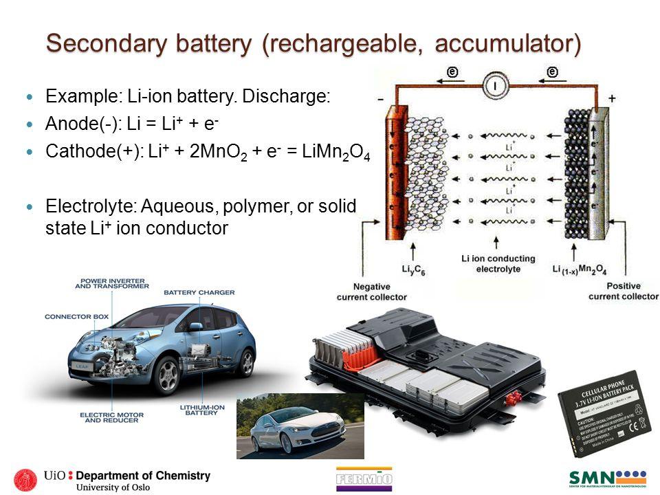 Fuel cell ◦ Polymer Electrolyte Membrane Fuel Cell (PEMFC): Anode(-): 2H 2 = 4H + + 4e - Cathode(+): O 2 + 4H + + 4e - = 2H 2 O ◦ Solid Oxide Fuel Cell (SOFC) If necessary, first reforming of carbon-containing fuels: CH 4 + H 2 O = CO + 3H 2 Anode(-): 2H 2 + 2O 2- = 2H 2 O + 4e - Cathode(+): O 2 + 4e - = 2O 2-