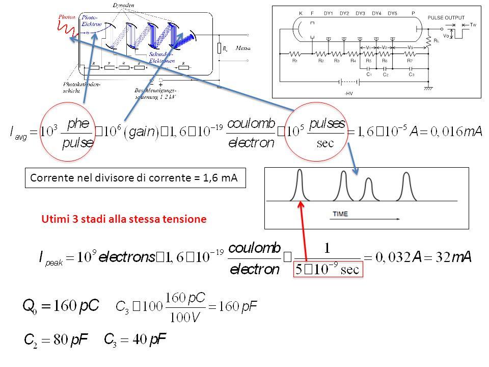 Corrente nel divisore di corrente = 1,6 mA Utimi 3 stadi alla stessa tensione