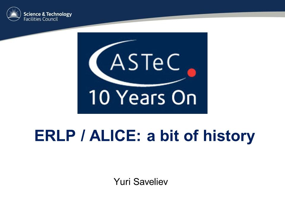 ERLP / ALICE: a bit of history Yuri Saveliev
