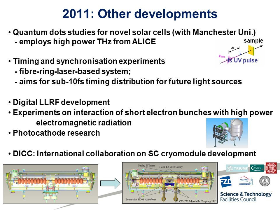 2011: Other developments Quantum dots studies for novel solar cells (with Manchester Uni.) - employs high power THz from ALICE Timing and synchronisation experiments - fibre-ring-laser-based system; - aims for sub-10fs timing distribution for future light sources Digital LLRF development Experiments on interaction of short electron bunches with high power electromagnetic radiation Photocathode research DICC: International collaboration on SC cryomodule development sample fs UV pulse