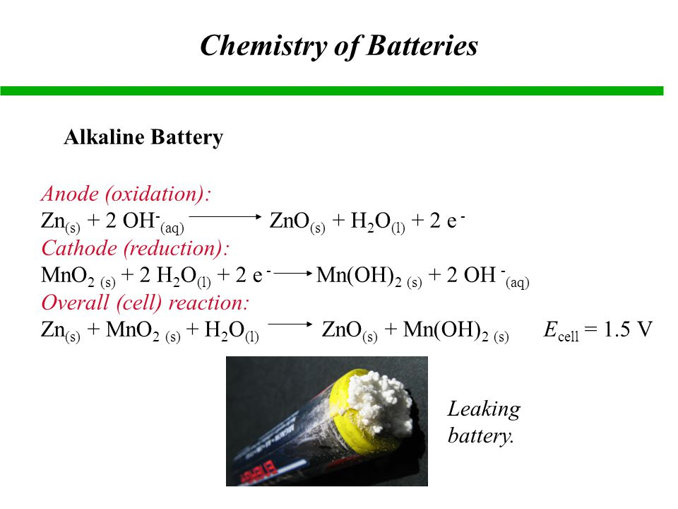 Chemistry of Batteries Alkaline Battery Anode (oxidation): Zn (s) + 2 OH - (aq) ZnO (s) + H 2 O (l) + 2 e - Cathode (reduction): MnO 2 (s) + 2 H 2 O (l) + 2 e - Mn(OH) 2 (s) + 2 OH - (aq) Overall (cell) reaction: Zn (s) + MnO 2 (s) + H 2 O (l) ZnO (s) + Mn(OH) 2 (s) E cell = 1.5 V Leaking battery.