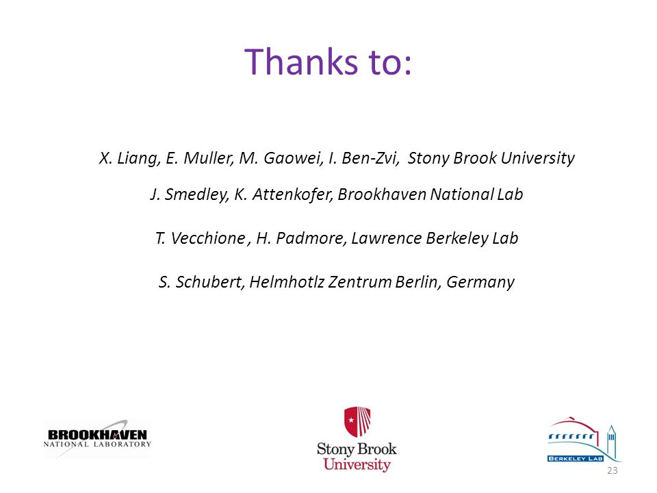 Thanks to: X. Liang, E. Muller, M. Gaowei, I. Ben-Zvi, Stony Brook University J.